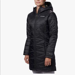 Columbia Mighty Lite Hooded Jacket Tunic Length Black Lightweight Omni-Heat GUC